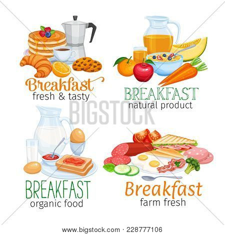 Breakfast Banners Template Food Design Vector. Jug Of Milk, Coffee Pot, Cup, Fruits And Vegetables.