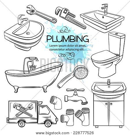 Plumbing Icons. Hand Drawn Shower, Bathroom Sink, Toilet, Sanitary Wrench And Tap For House Plumbing