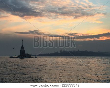 Maidens Tower In Istanbul. Leanders Tower In Istanbul. Stone Tower, Well Known Bosporus Landmark Ist