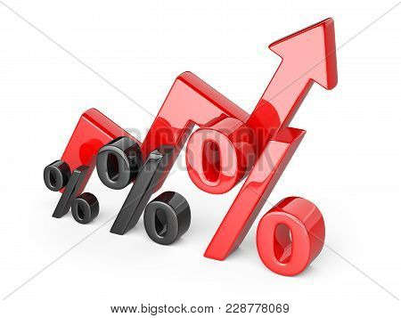 Graph, Diagram, Red Percent Signs. Business Concept Of Success Of Development. 3d Illustration Isola