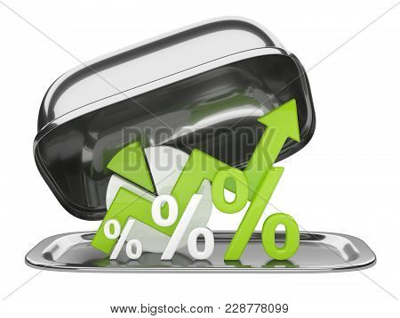 Graph, Diagram And Green Percent Signs On A Restaurant Cloche With Square Open Lid. Business Concept