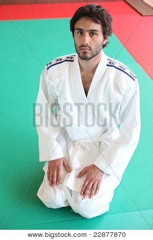 Adult male kneeling on mat in martial arts clothing poster