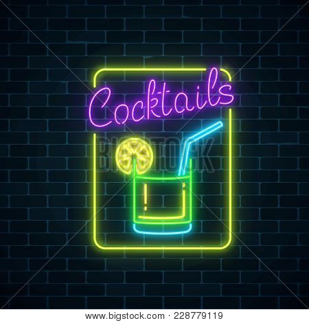 Glow neon symbol vector photo free trial bigstock glowing gas advertising with caipirinhas alcohol shake drinking canteen banner night club invitation vector illustration stopboris Choice Image