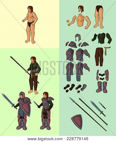 Set Of Half Elves V1. Character With Full Plate Armour: Vector Cartoon Half Elf Body Parts With Epic