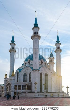 Kazan, Russia, Republic Of Tatarstan - December 31, 2017: Kul Sharif Mosque At Sunset
