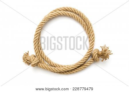 Circle rope frame on white background