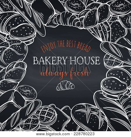 Food Template Frame And Page Design For Bakery , Chalkboard Style. Hand Drawn Sketch Rye And Wheat B