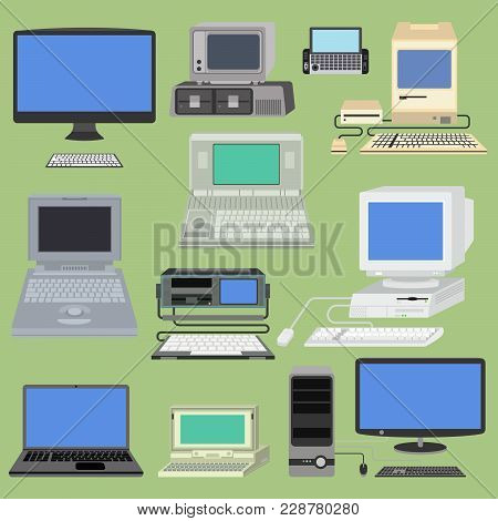 Old Retro Vintage Vector Computer Pc Monitor And Tv Screen. Classic Antique Technology Old-style Bus