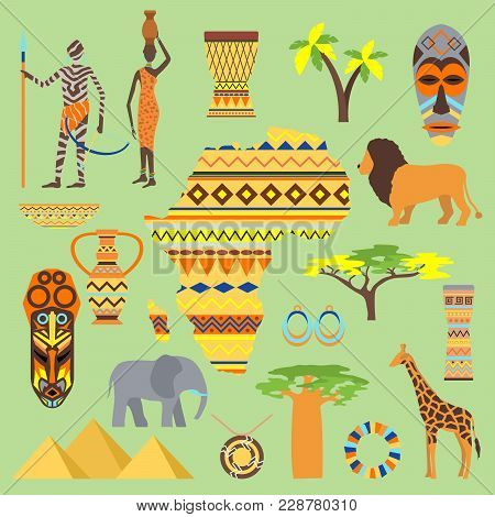 African Vector Symbols Travel Safari Icon Element Set. African Animals And People Ethnic Art South A