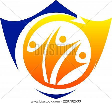 Shield Success Together Logo Template Vector Isolated
