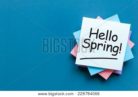 Hello Spring - Note At Work Place With Empty Space For Text, Mockup Or Template. Spring Time Beginni