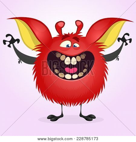 Happy Red Monster Excited. Vector Illustration Of Hairy Round Troll Waving Hands