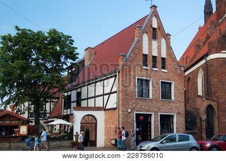 Gdansk, Poland - June 07, 2014: Old Building On The Podmlynska Street In Historical Part Of Gdansk.