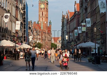 Gdansk, Poland - June 07, 2014: View Of The Town Hall Of Main City From Dluga (long Lane) Street. It