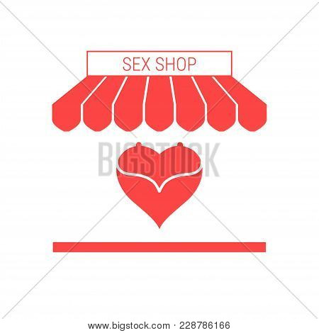 Sex Shop Single Flat Vector Icon. Striped Awning And Signboard. A Series Of Shop Icons.