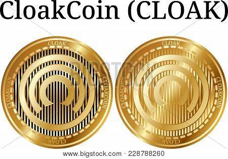 Set Of Physical Golden Coin Cloakcoin (cloak), Digital Cryptocurrency. Cloakcoin (cloak) Icon Set. V