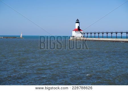 Located On The Indiana Shore Of Lake Michigan, The Michigan City East Breakwater Light In Indiana Wa