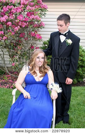 Prom Boy Resting Hand on Date's Head