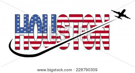 Houston flag text with plane silhouette and swoosh illustration