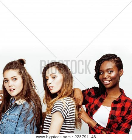 Diverse Multi Nation Girls Group, Teenage Friends Company Cheerful Having Fun, Happy Smiling, Cute P