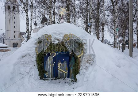 The Manger Of Christ, Covered With Snow, On The Celebration Of Christmas In The Village Of Vyatka, Y