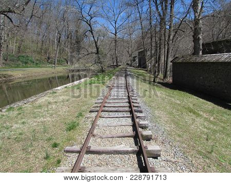 Old  Narrow  Gauge  Railroad  Line  At  The  Powder  Mill  In  Wilmington,  Delaware