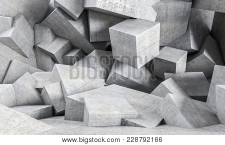 geometric concrete background 3d rendering image