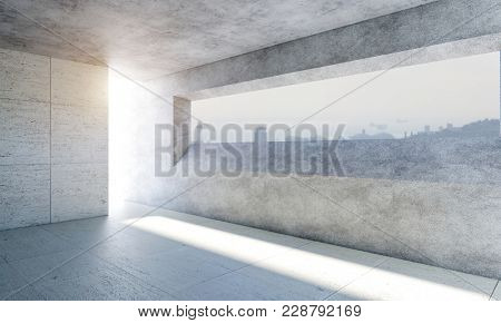 modern concrete room and big window, town with sunset background 3d rendering image