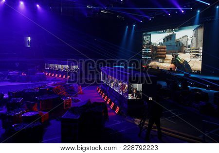ST. PETERSBURG, RUSSIA - FEBRUARY22, 2018: Teams of gamers during St. Petersburg Cyber-Sport Festival. Main event of the festival is the Counter-Strike: Global Offensive tournament