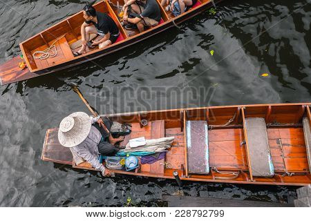 Bangkok Thailand - October 08: Tourism Sit On The Boat In The Former Times Floating Market On Octobe