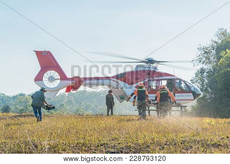Nakhon Ratchasima, Thailand - December 23, 2017: Rescue Team Carrying Injured Passenger To Helicopte