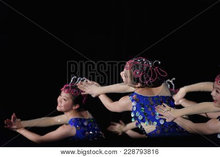 SAINT-PETERSBURG, RUSSIA - FEBRUARY 6, 2018: Dance group Bihua performs the dance Fishes during the Dance festival of young people of China and Russia. Six choreographic groups take part in the event