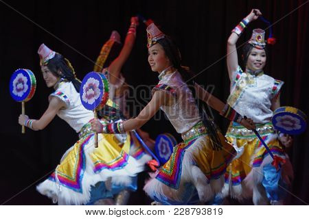 SAINT-PETERSBURG, RUSSIA - FEBRUARY 6, 2018: Dance group Bihua performs the dance Prayer Of Life during the Dance festival of young people of China and Russia. Six choreographic groups take part