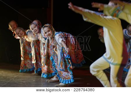 SAINT-PETERSBURG, RUSSIA - FEBRUARY 6, 2018: Russian folk dance performed by choreographic group Sozvezdie during the Dance festival of young people of China and Russia. Six dance groups take part