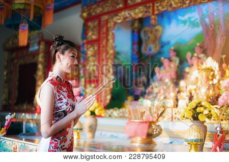 Asian Woman Wearing Chinese Dress, Smile In Chinese New Year, Chinese Woman Dress Traditional Cheong