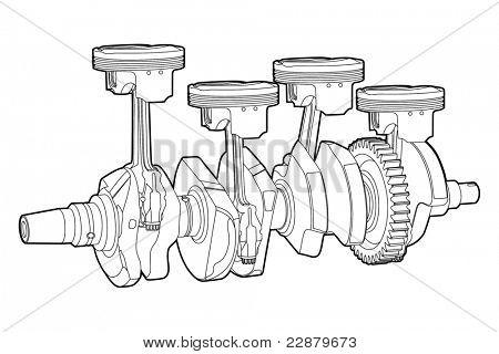 Black outline vector illustration (engine pistons)