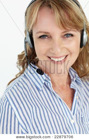 Businesswoman wearing headset poster