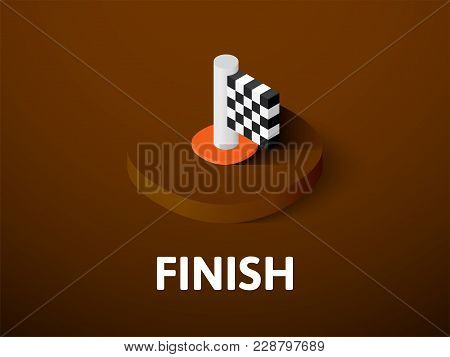 Finish Icon, Vector Symbol In Flat Isometric Style Isolated On Color Background