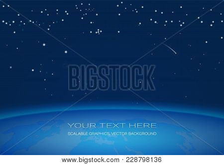 Vector Background, Starry Night Sky And Horizon Planet Earth With Inscriptions