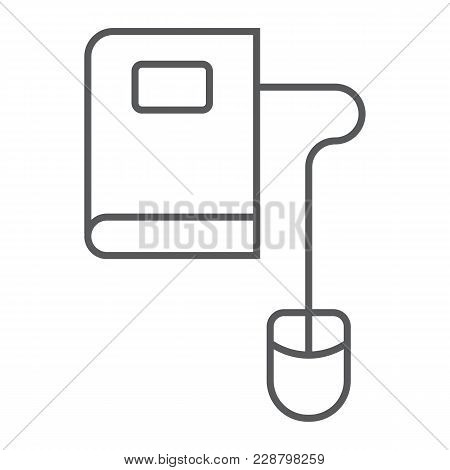 Mouse And Book Thin Line Icon, E Learning And Education, Knowledge Sign Vector Graphics, A Linear Pa