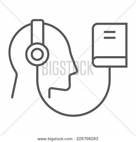 Audio Course Thin Line Icon, E Learning And Education, Audio Book Sign Vector Graphics, A Linear Pat