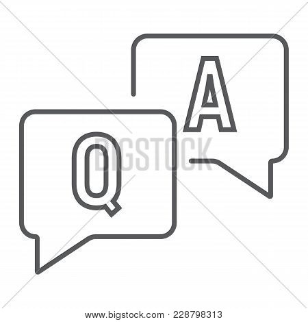 Question And Answer Thin Line Icon, E Learning And Education, Speech Bubble Chat Sign Vector Graphic
