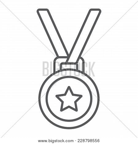 Medal Thin Line Icon, Trophy And Award, Best Student Sign Vector Graphics, A Linear Pattern On A Whi