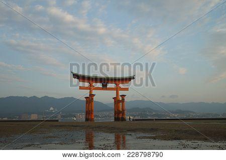 Hiroshima, Japan - August 11 2017. Boats running to Miyajima Island in Hiroshima, Japan. Miyajima is