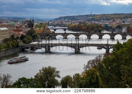 Prague, Czech Republic - October 8, 2017: Bridges over the Moldau river in Prague in autumn