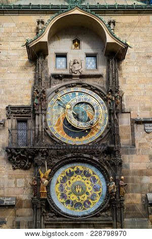 Prague, Czech Republic - October 6, 2017: Astronomical dial and mechanical clock of the Prague Astronomical Clock on the Town Hall in Old Town Square
