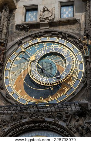Prague, Czech Republic - October 6, 2017: Astronomical dial of the Prague Astronomical Clock on the Town Hall in Old Town Square