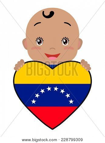 Baby and a Venezuela flag in the shape of a heart. Smiling face of a child, symbol of patriotism, independence, travel, emblem of love.