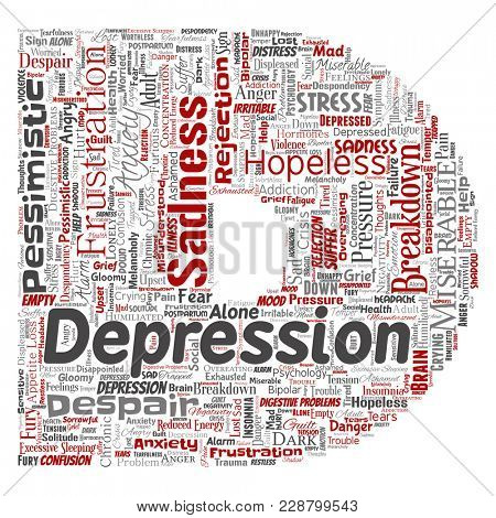Conceptual depression or mental emotional disorder problem letter font D word cloud isolated background. Collage of anxiety sadness, negative sad, despair, unhappy, frustration symptom