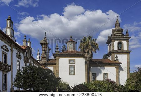 Vila Real, Portugal - September 22, 2017: Lateral View Of The Chapel Facing The Gardens Of The Mateu